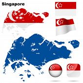 Singapore vector set. Detailed country shape with region borders, flags and icons isolated on white