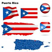 Puerto Rico vector set. Detailed country shape with region borders, flags and icons isolated on whit