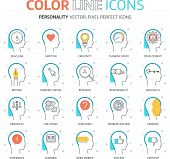 Постер, плакат: Color Line Personality Illustrations Icons
