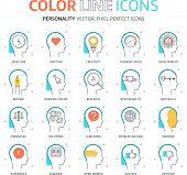 Постер, плакат: Color Line Personality Illustrations Icons