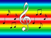 picture of rainbow piano  - Beautiful music symbols in the rainbow background - JPG