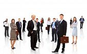 pic of crew cut  - business team formed of young businessmen standing over a white background - JPG