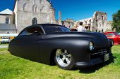 HAAPSALU, ESTONIA - JULY 18: American Beauty Car Show, showing mat black 1949 Mercury Custom, front