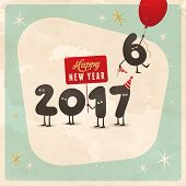 Vintage style funny greeting card - Happy New Year 2017 - Editable, grunge effects can be easily rem poster