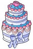 foto of wedding feast  - Wedding cake with blue ribbon  - JPG