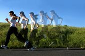 picture of athletic woman  - Multiple images of a woman running on a trail - JPG