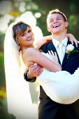 stock photo of wedding couple  - Couple on their wedding day - JPG