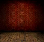 picture of brocade  - Empty old grungy room with red vintage wallpaper - JPG