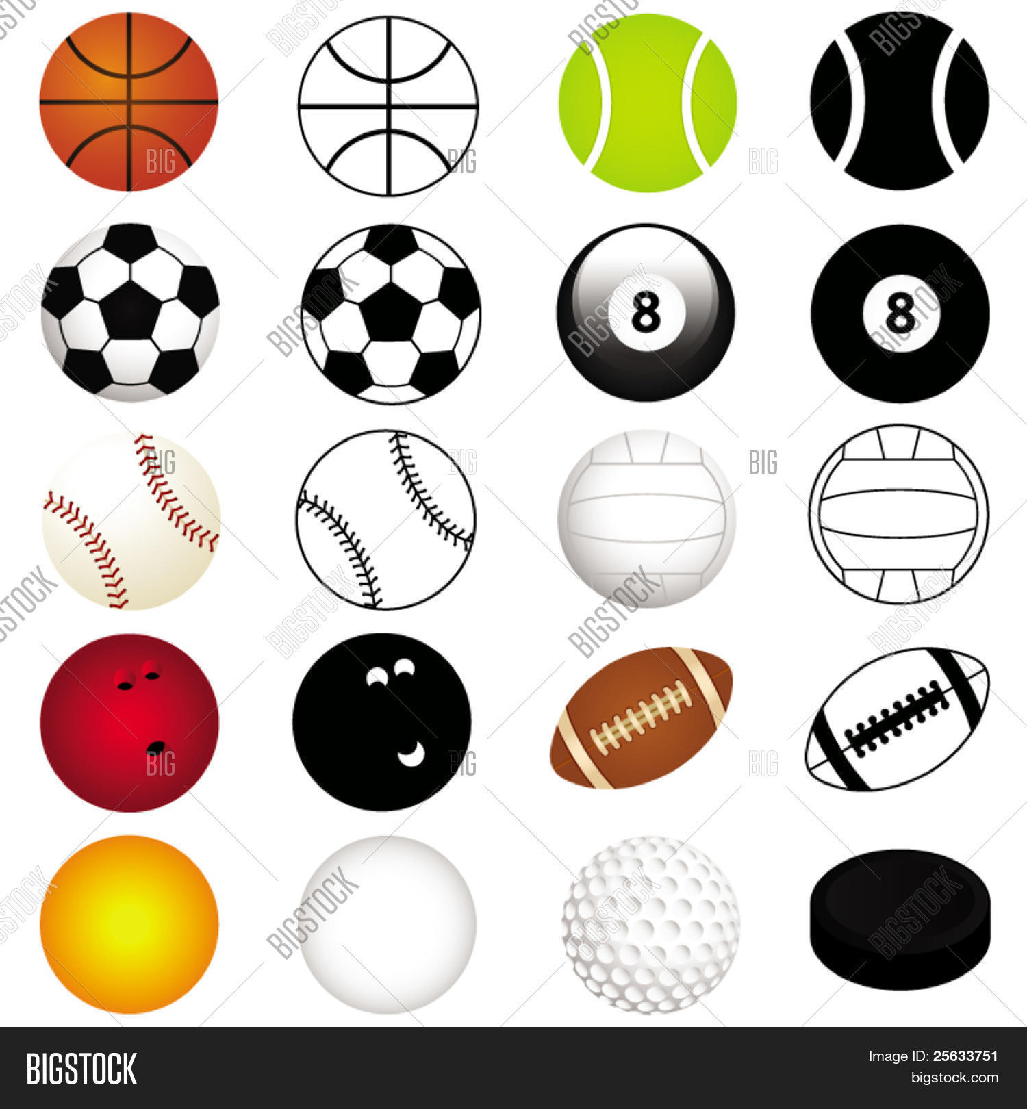 Vector Sports Set : Different Kinds Of Balls In Color And