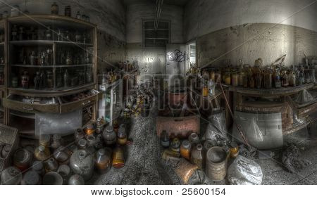 panorama of a store-room full of bottles in an abandoned complex, hdr processing