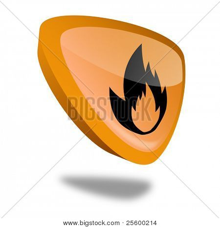 orange flame button with perspective