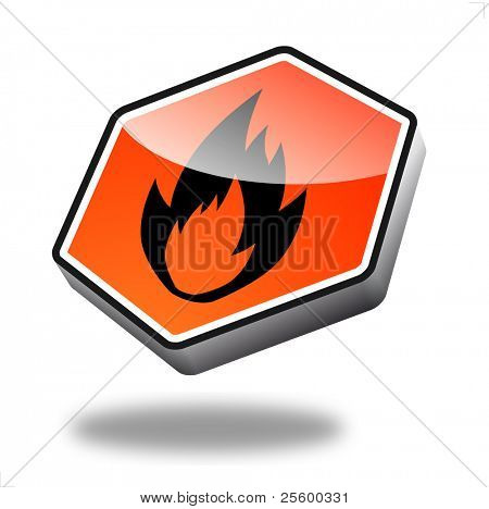 orange fire button with perspective
