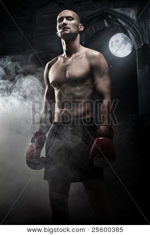 Mysterious photo of a handsome boxer