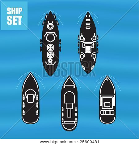 Civil and military ships vector collection