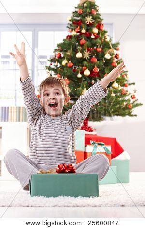 Kid yelling happily at christmas gift with arms raised, sitting at christmas tree in morning.?