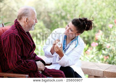 elderly and nurse or carer