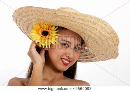 Lady Putting Flower