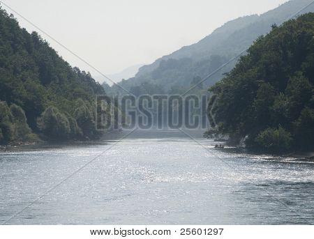 Hazy morning on the Drina river
