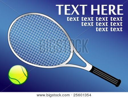 tennis racket and ball on the blue background with place for your text - vector