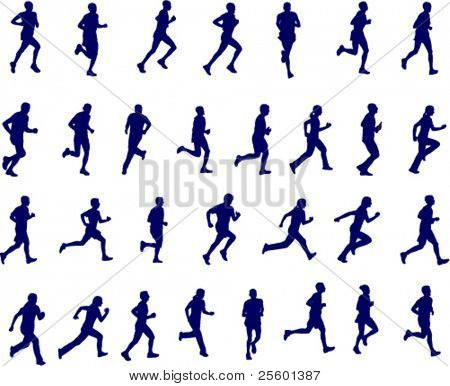 30 high quality silhouettes of people running - vector illustration