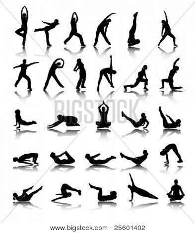 silhuetas de menina alongamento e exercício