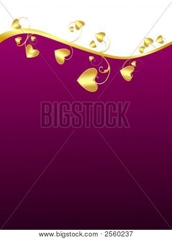 Purple Background With Hearts Elements