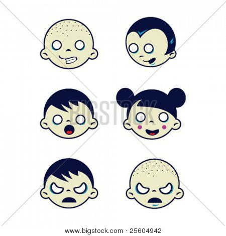 cartoon drawing of isolated weird kids faces