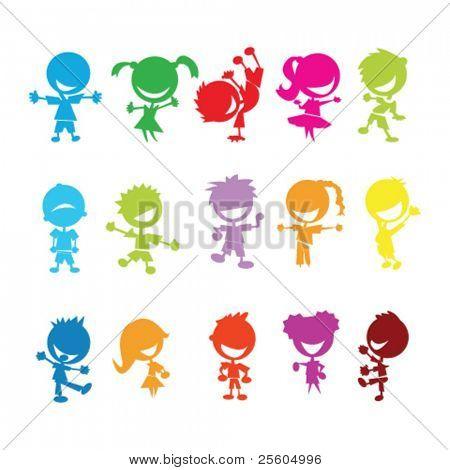 desenho de crianças coloridas isoladas no fundo branco