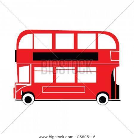 Ilustración de autobús británico rojo de dos pisos