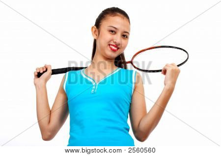Gorgeous Lady Holding Racket