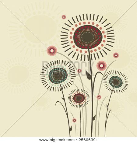 Beautiful retro flowers. Vector illustration