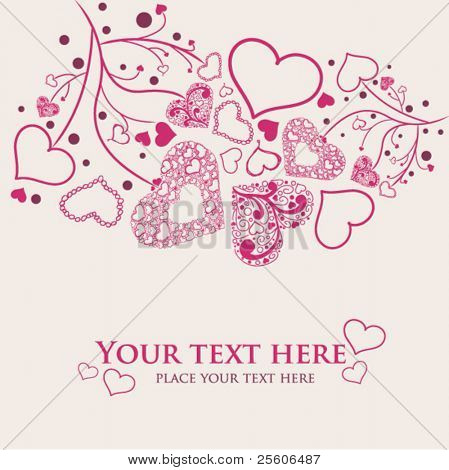 Beautiful hand draw hearts. Valentine vector card