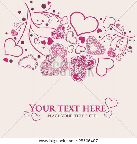 Beautiful hand draw hearts. Valentine vector card