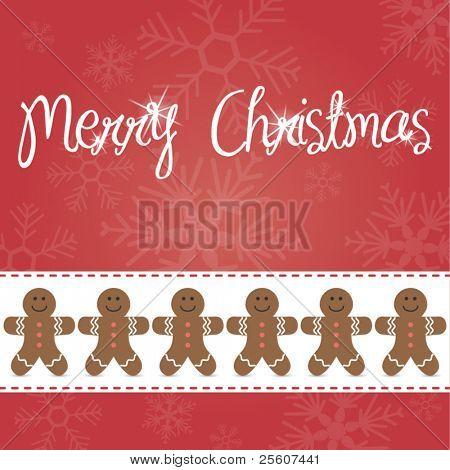 Gingerbread man vector card