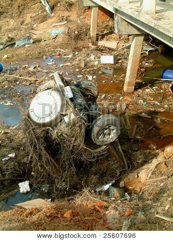 Car in river after the Tsunami, khao lak, Thailand