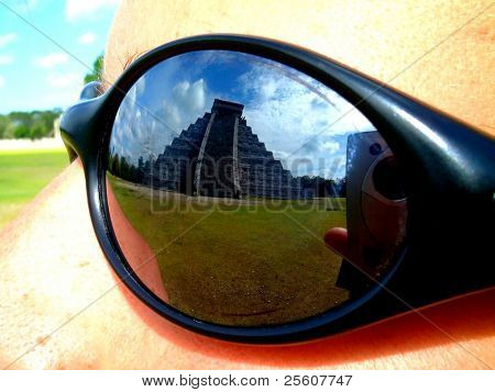 view of chichenitza temple through sun glasses