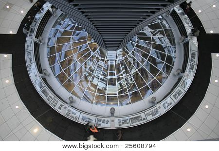 view from above into the central area of the reichstag building, berlin, germany