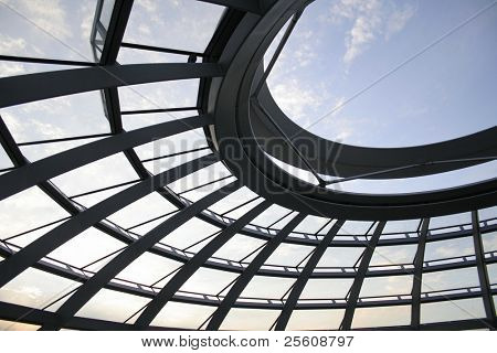 view through the roof of the reichstag, berlin, germany