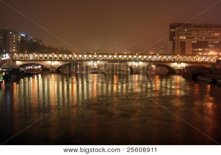 pont de bercy bridge at night, paris, france