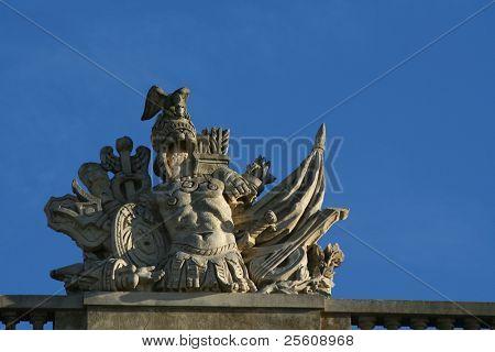 armour out of stone, versailles, paris, france