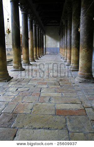 nativity church columns, bethlehem, west bank, palestine, israel