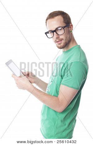 Good Looking Smart Nerd Man With Tablet Computer