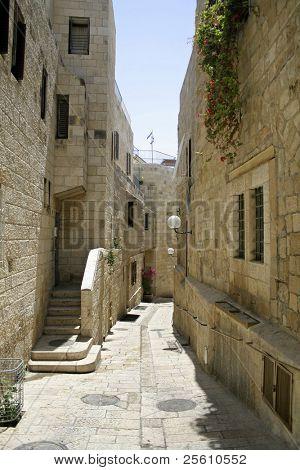 little back street in the old city of jerusalem, israel