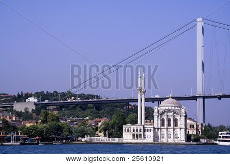 mosque and bosphor brigde linking europe to asia, bosphorus, istanbul, turkey