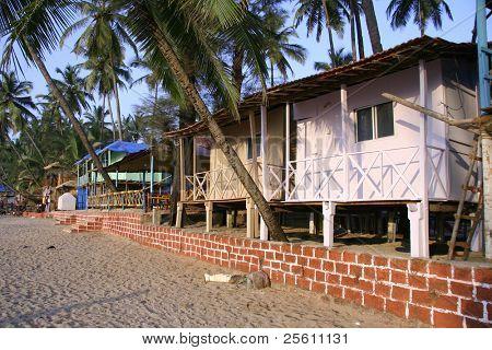 beach hut on seaside in the tropics