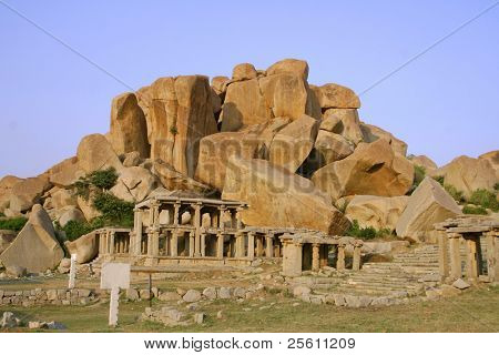 temple rock in main bazaar in hampi, india