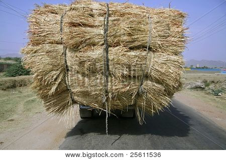 overloaded truck on highway, rajasthan, india
