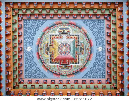 Tibetan mandala painting on monestery ceiling, Upper Pisang, Nepal