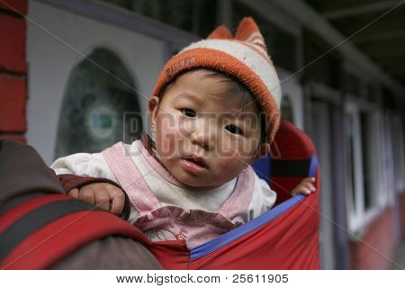little gurung kid on father's back, annapurna, nepal
