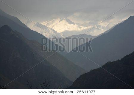 mountain valley silhouette, himalayas, annapurna, nepal